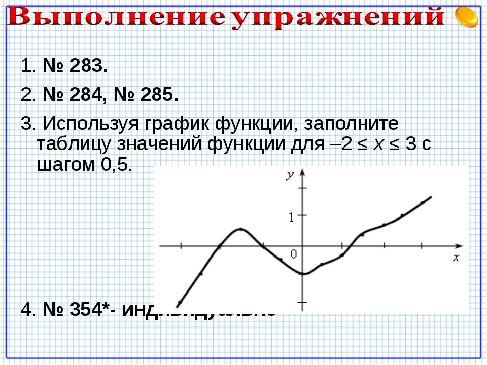 1. № 283. 2. № 284, № 285. 3. Используя график функции, заполните таблицу зна...