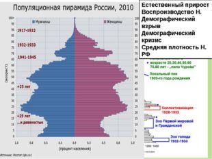 Естественный прирост Воспроизводство Н. Демографический взрыв Демографический