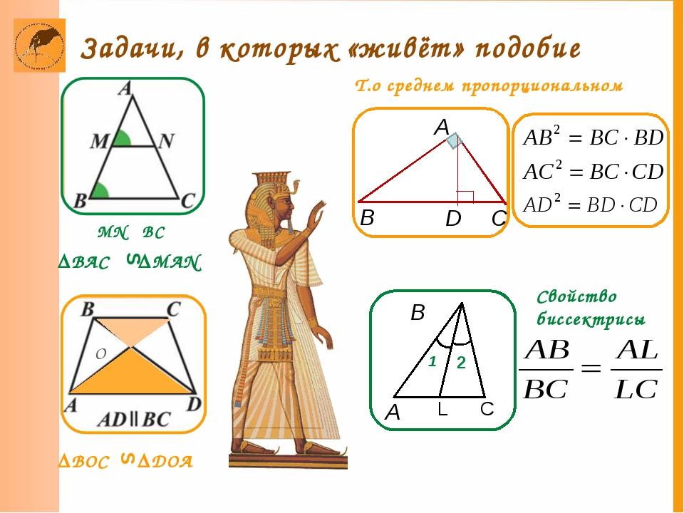 B A 2 MN BC ║ ∆BOC ∆DOA Т.о среднем пропорциональном Свойство биссектрисы O S...