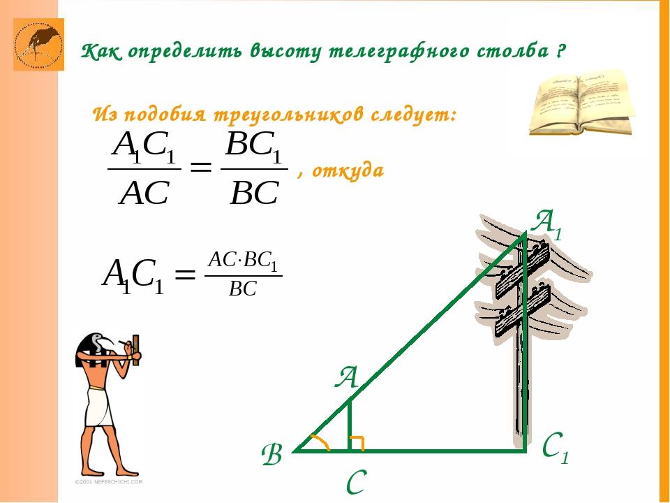 С Как определить высоту телеграфного столба ?