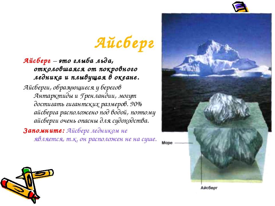 Айсберг Айсберг – это глыба льда, отколовшаяся от покровного ледника и плывущ...