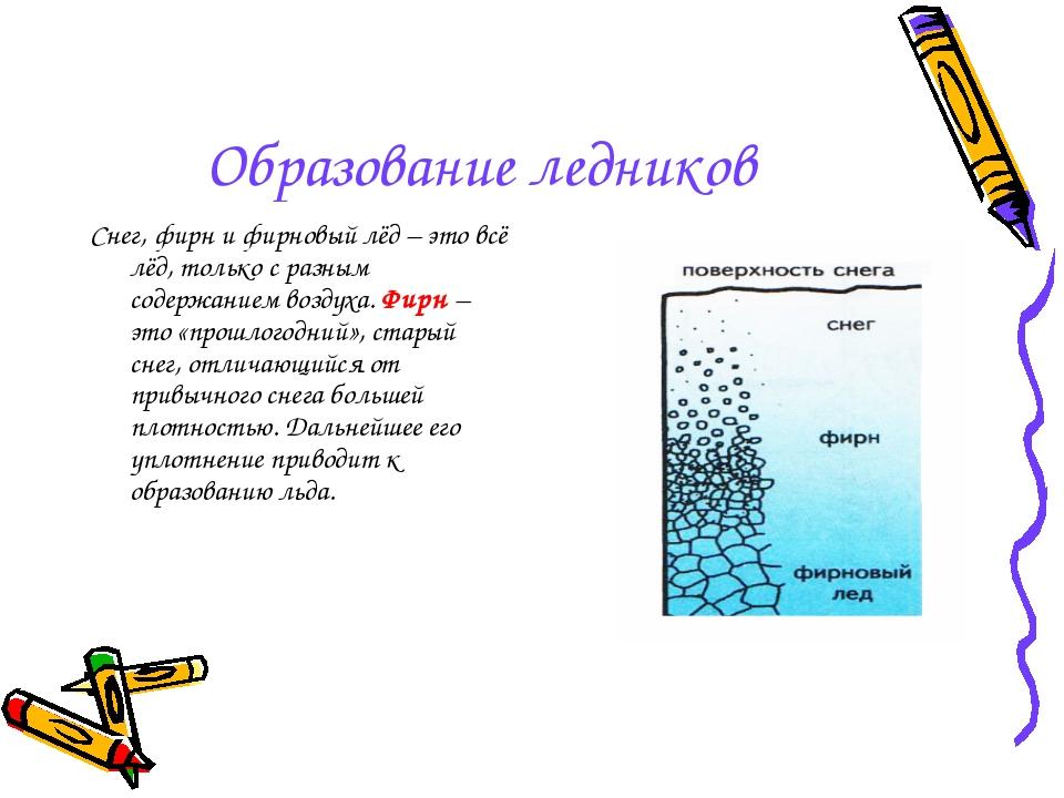 Образование ледников Снег, фирн и фирновый лёд – это всё лёд, только с разным...