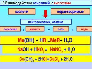 I.3 Взаимодействие оснований с кислотами нейтрализации, обмена щелочи нераств