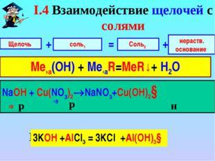 NaOH + Сu(NO3)2 NaOH + Сu(NO3)2NaNO3+Cu(OH)2↓ Щелочь соль1 + нераств. основ