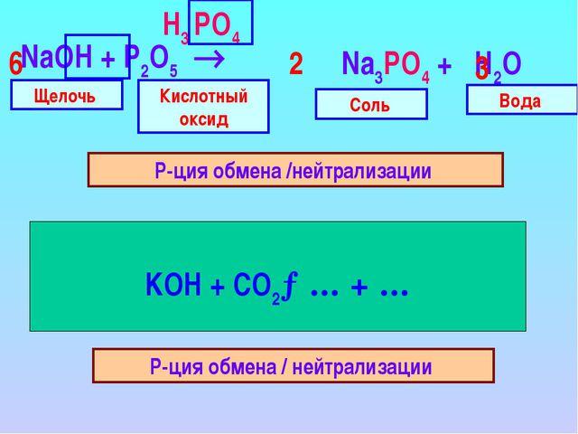 NaOH + P2O5  Н3 PO4 Н2 CO3 Щелочь Кислотный оксид Вода Соль Р-ция обмена /...