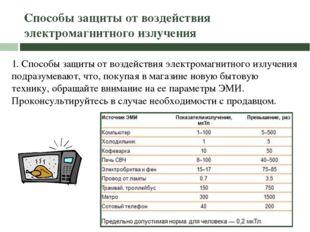 Способы защиты от воздействия электромагнитного излучения 1. Способы защиты о