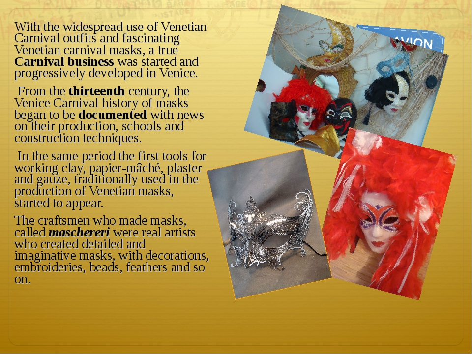 With the widespread use of Venetian Carnival outfits and fascinating Venetian...