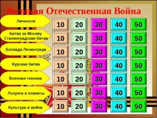 Битва за Москву Сталинградская битва Блокада Ленинграда Курская битва Военная