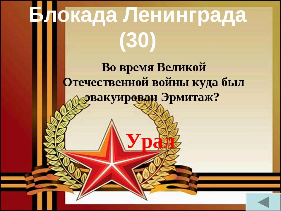 Блокада Ленинграда (30) Во время Великой Отечественной войны куда был эвакуир...