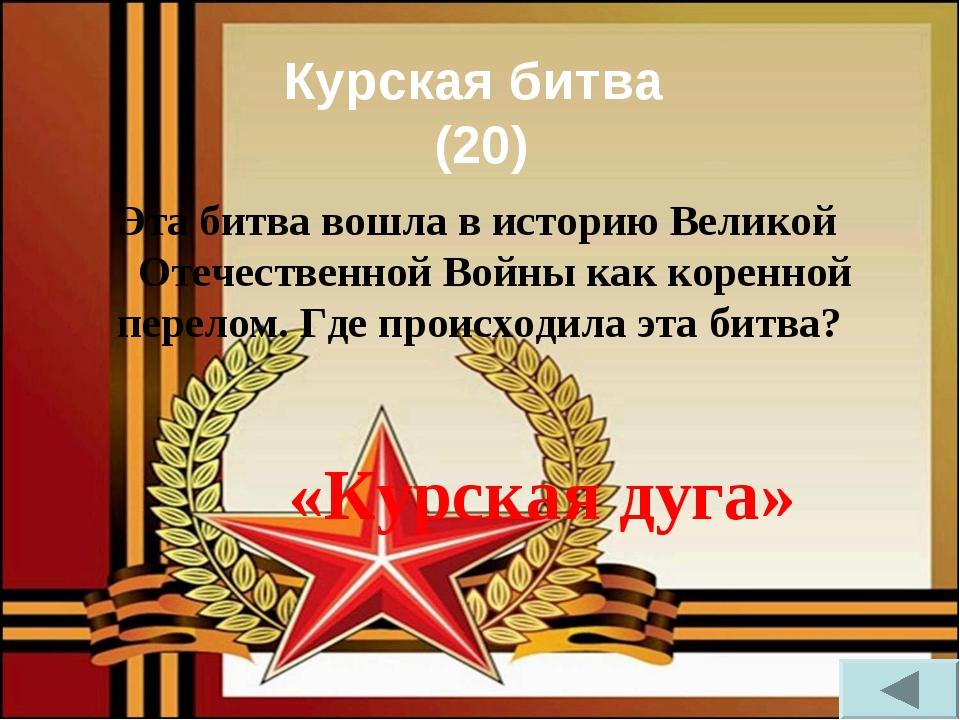 Курская битва (20) Эта битва вошла в историю Великой Отечественной Войны как...