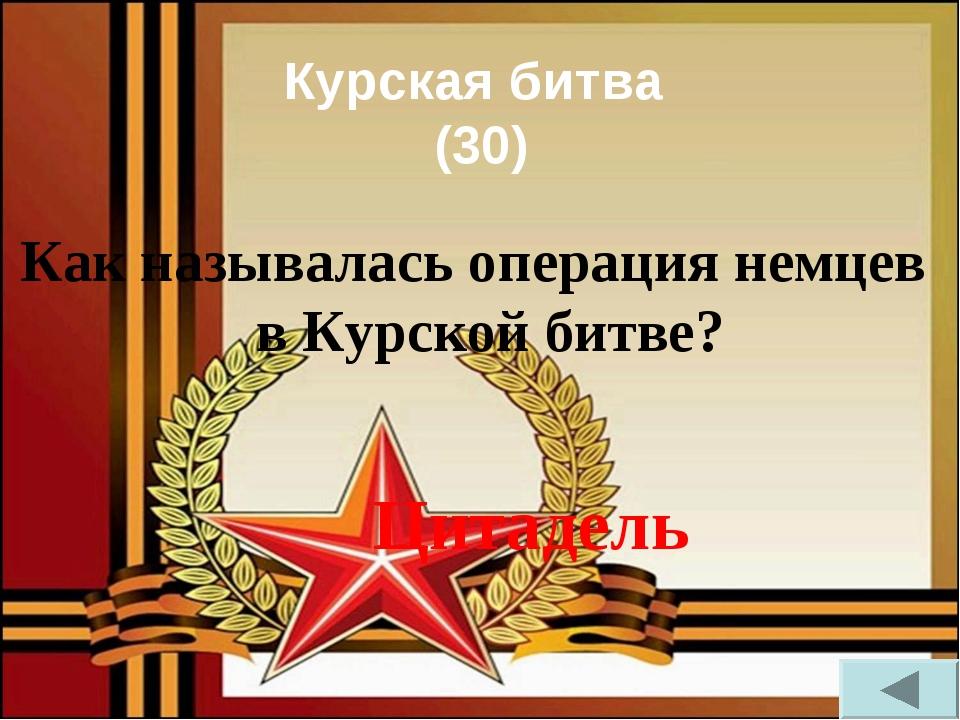 Курская битва (30) Как называлась операция немцев в Курской битве? Цитадель