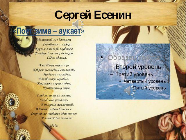 Сергей Есенин Мохнатый лес баюкает Стозвоном сосняка. Кругом с тоской...