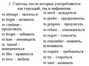 2 Глаголы, после которых употребляются как герундий, так и инфинитив: to atte