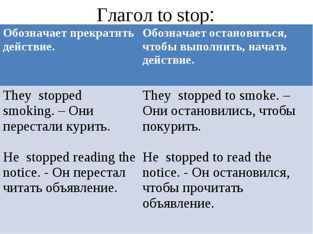 Глагол to stop: Обозначает прекратить действие. Обозначает остановиться, чт...