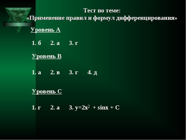 Тест по теме: «Применение правил и формул дифференцирования»