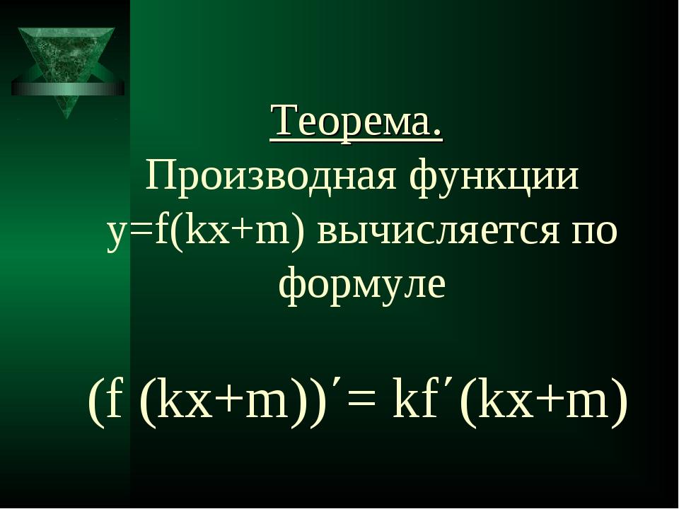 Теорема. Производная функции y=f(kx+m) вычисляется по формуле (f (kx+m))΄= kf...