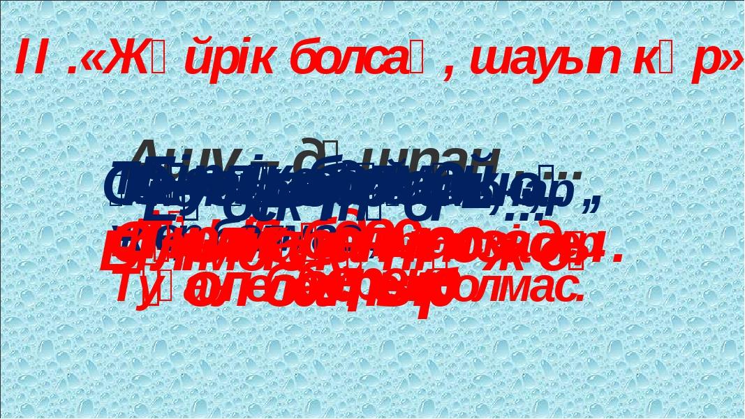 ІІ .«Жүйрік болсаң, шауып көр» Ашу – дұшпан , ... Ақыл – дос . Туған жерд...