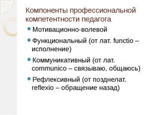 Компоненты профессиональной компетентности педагога Мотивационно-волевой Функ