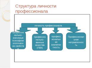 Структура личности профессионала личность профессионала профессионально-значи