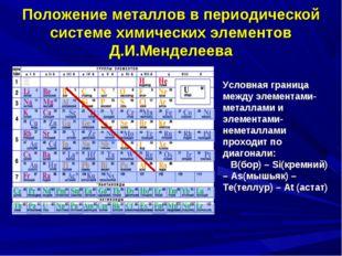 Положение металлов в периодической системе химических элементов Д.И.Менделеев
