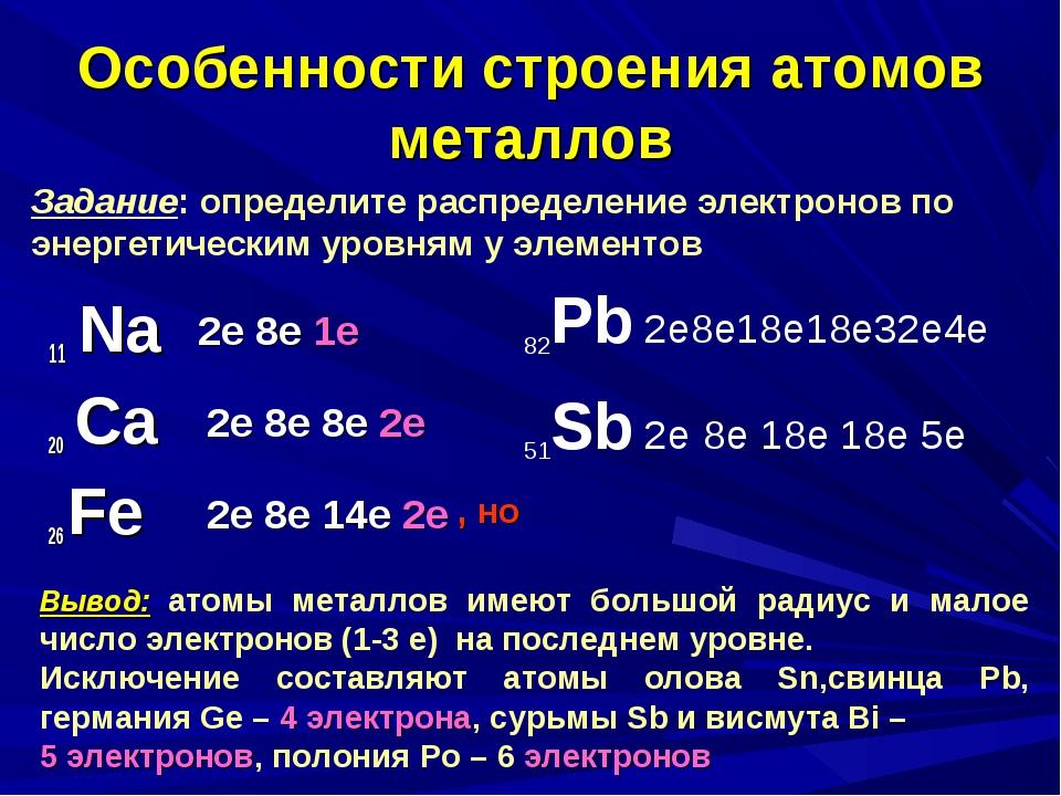 Особенности строения атомов металлов 11 Na 20 Са 26 Fe 2е 8е 1е 2е 8е 8е 2е 2...