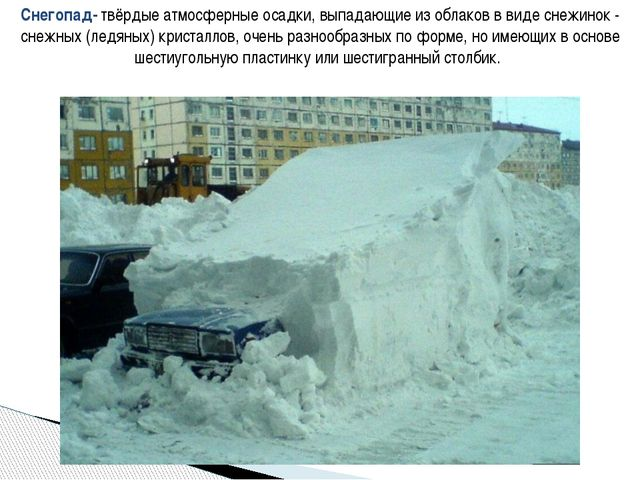 Снегопад- твёрдые атмосферные осадки, выпадающие из облаков в виде снежинок -...