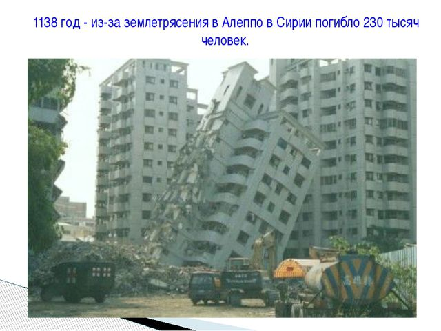 1138 год - из-за землетрясения в Алеппо в Сирии погибло 230 тысяч человек.