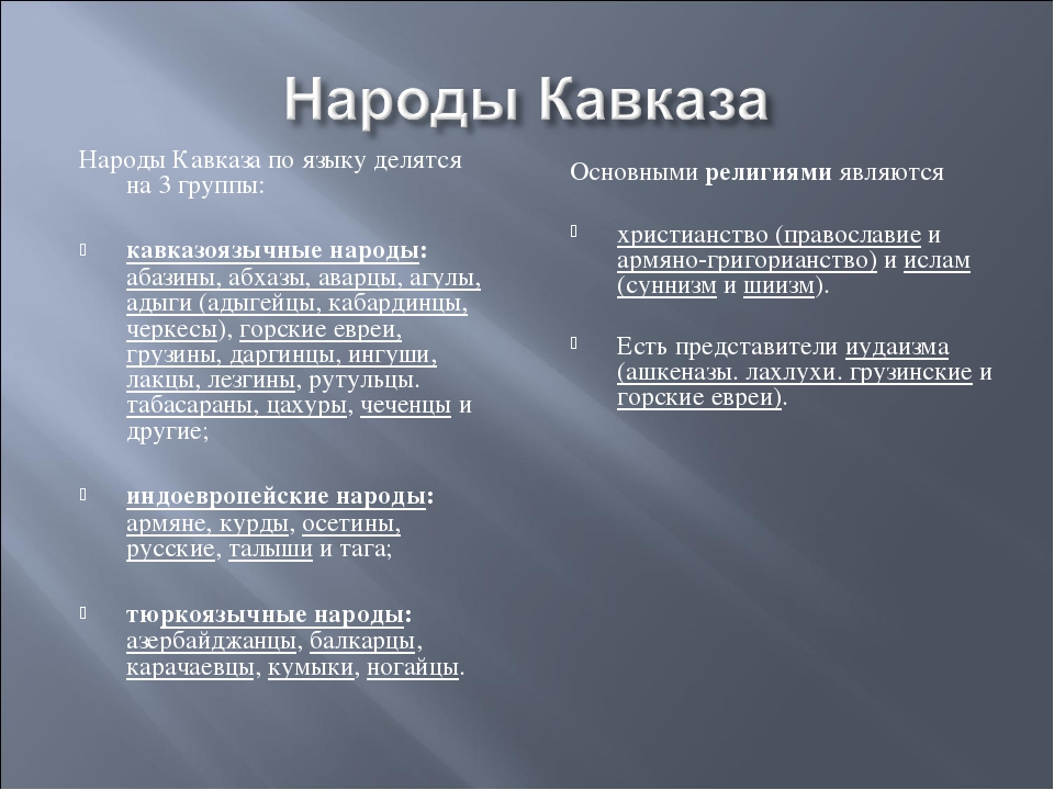 Народы Кавказа по языку делятся на 3 группы: кавказоязычные народы: абазины,...