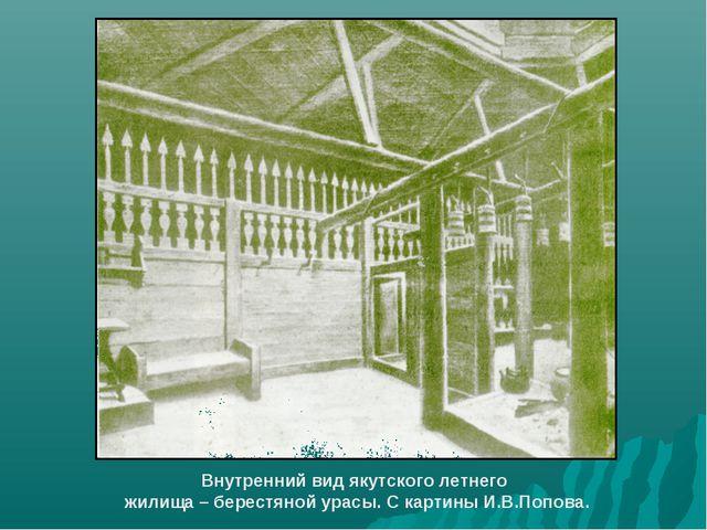 Внутренний вид якутского летнего жилища – берестяной урасы. С картины И.В.Поп...