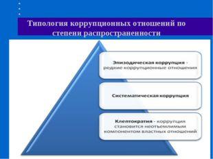 Типология коррупционных отношений по степени распространенности