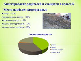 Места наиболее замусоренные улицы – 37% дворы жилых дворов – 30% торговые це