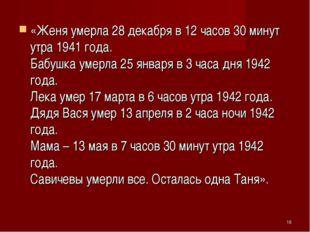 «Женя умерла 28 декабря в 12 часов 30 минут утра 1941 года. Бабушка умерла 2