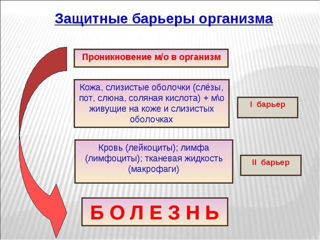 Защитные барьеры организма Проникновение м/о в организм Кожа, слизистые оболо...