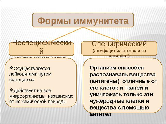 Формы иммунитета Неспецифический (лейкоциты и макрофаги) Специфический (лимфо...