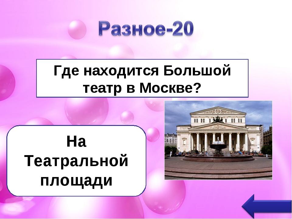 Где находится Большой театр в Москве? На Театральной площади