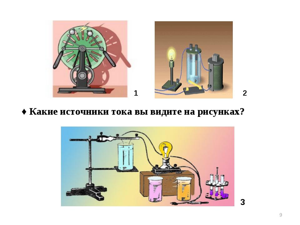 3 2 1 ♦ Какие источники тока вы видите на рисунках? *