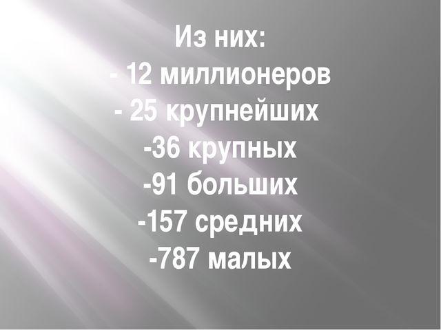 Из них: - 12 миллионеров - 25 крупнейших -36 крупных -91 больших -157 средних...