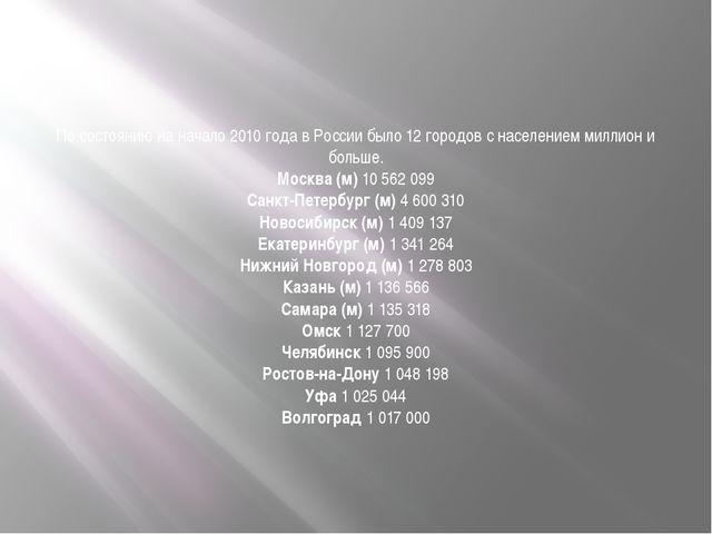 По состоянию на начало 2010 года в России было 12 городов с населением миллио...