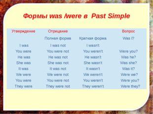 Формы was /were в Past Simple Утверждение Отрицание Вопрос Полнаяформа Кратк