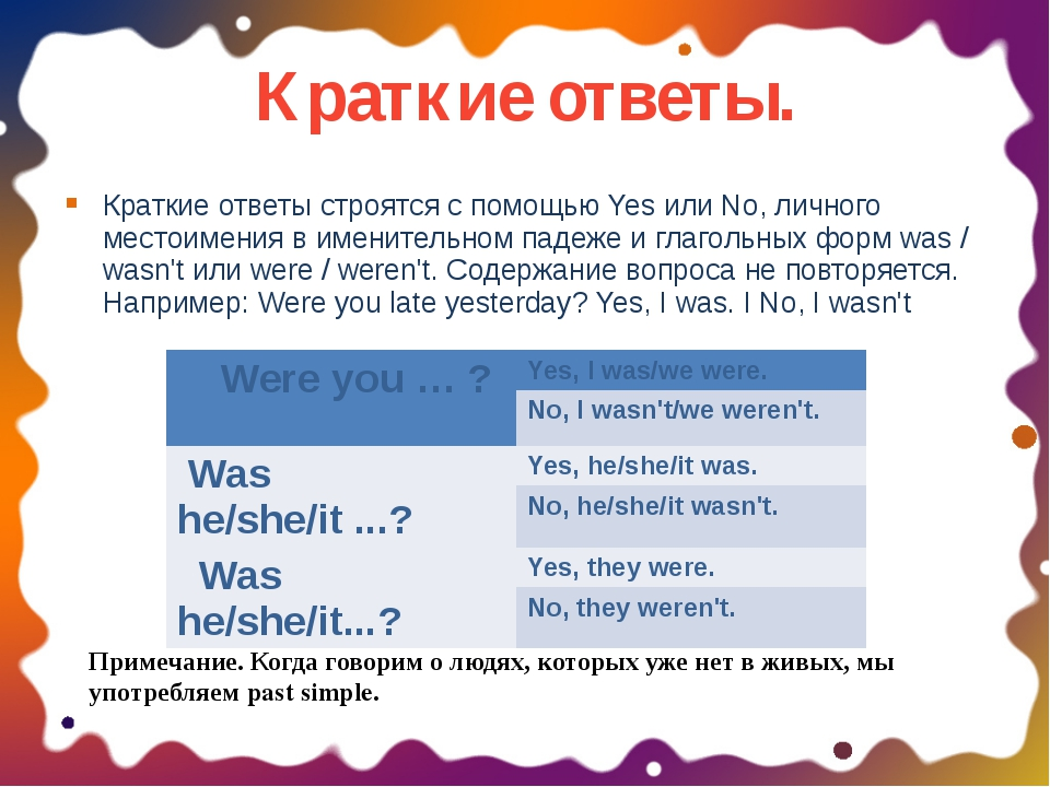 Краткие ответы. Краткие ответы строятся с помощью Yes или No, личного местоим...