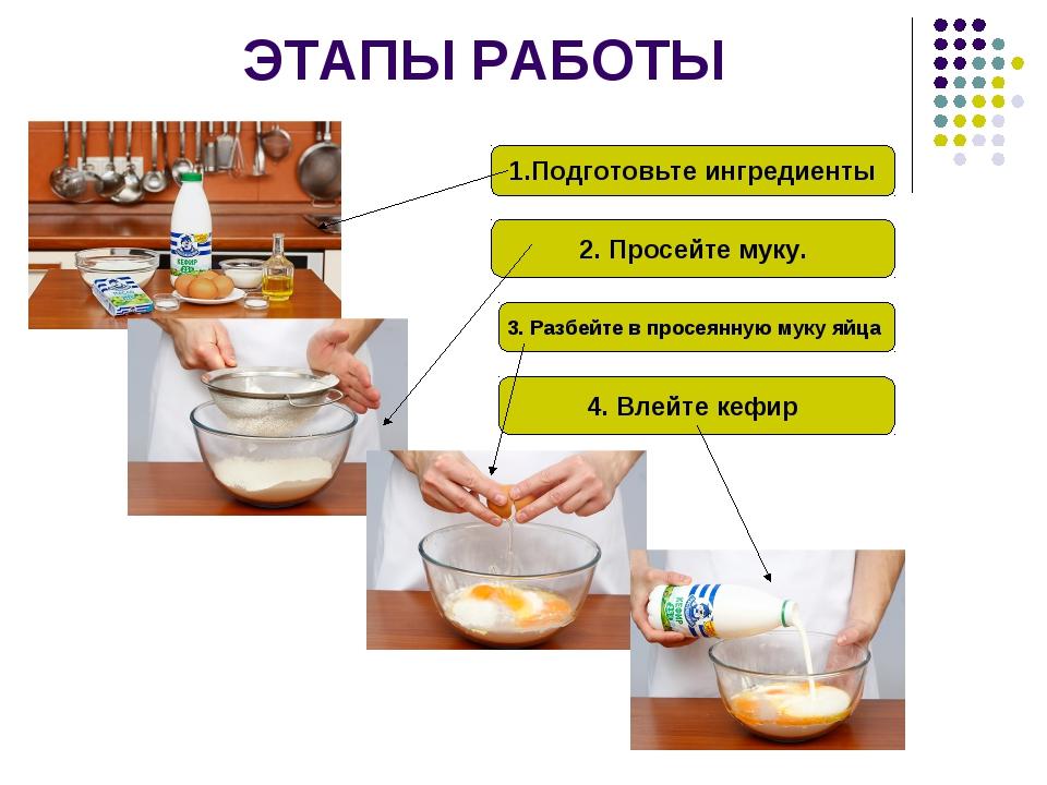 ЭТАПЫ РАБОТЫ 1.Подготовьте ингредиенты 2. Просейте муку. 3. Разбейте в просея...
