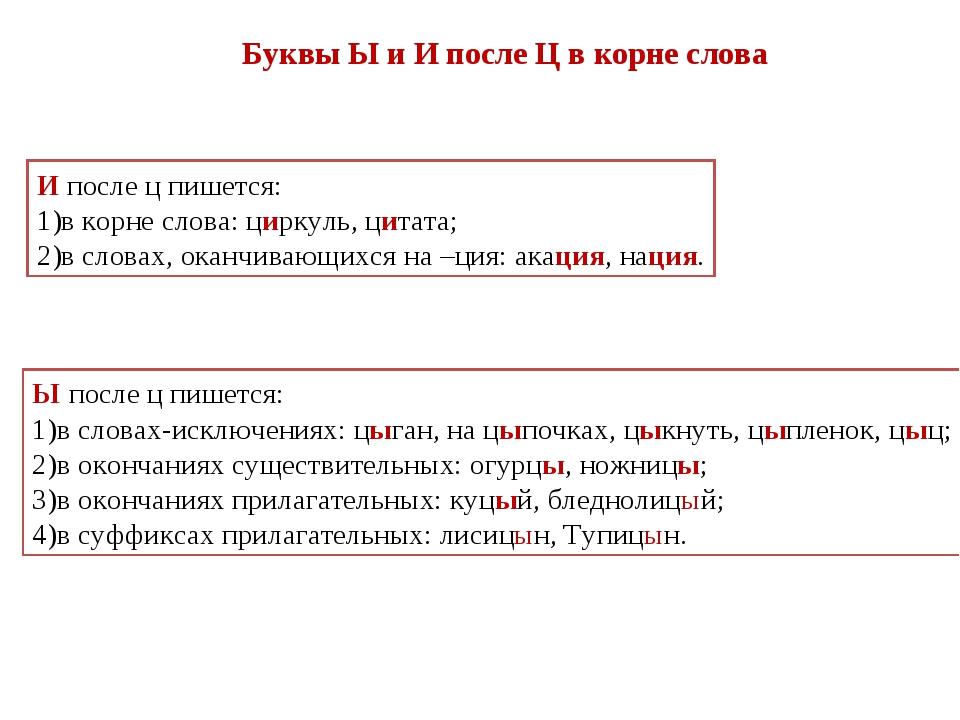 Буквы Ы и И после Ц в корне слова И после ц пишется: в корне слова: циркуль,...