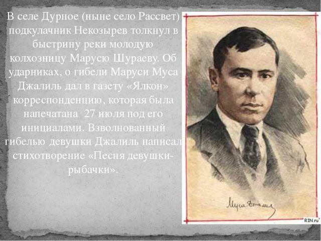 В селе Дурное (ныне село Рассвет) подкулачник Некозырев толкнул в быстрину ре...