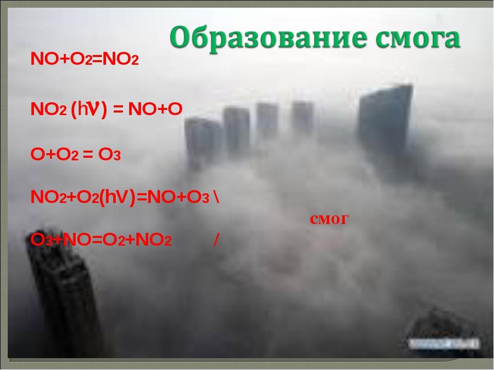 NO+O2=NO2 NO2 (h) = NO+O O+O2 = O3 NO2+O2(hV)=NO+O3 \ смог O3+NO=O2+NO2 /