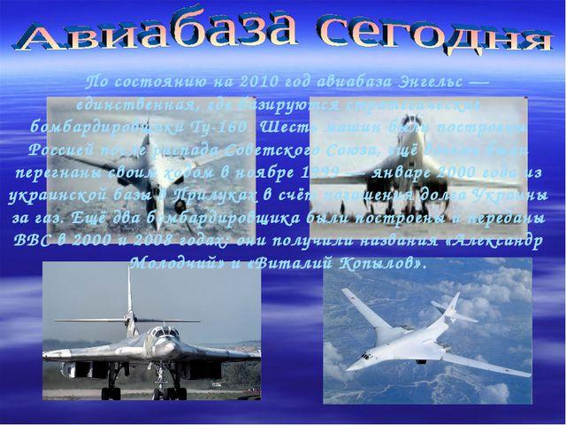По состоянию на 2010 год авиабаза Энгельс — единственная, где базируются стр...