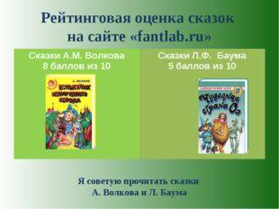 Рейтинговая оценка сказок на сайте «fantlab.ru» Я советую прочитать сказки А.