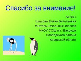 Автор : Шишова Елена Витальевна Учитель начальных классов МКОУ СОШ пгт. Вахру