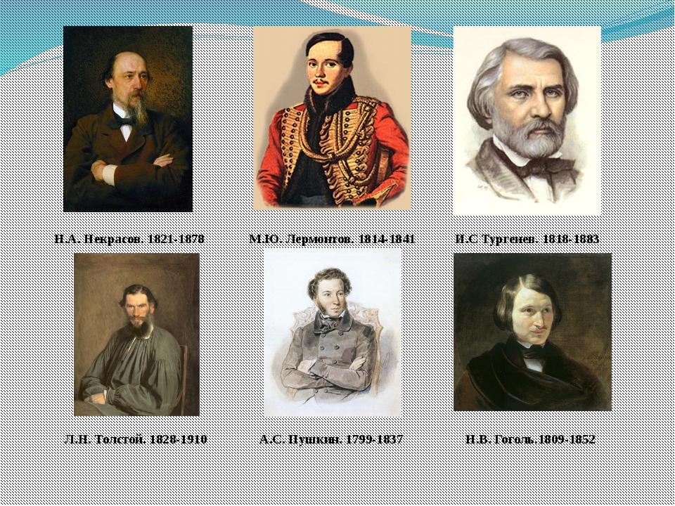 И.С Тургенев. 1818-1883 М.Ю. Лермонтов. 1814-1841 Н.А. Некрасов. 1821-1878 Н....
