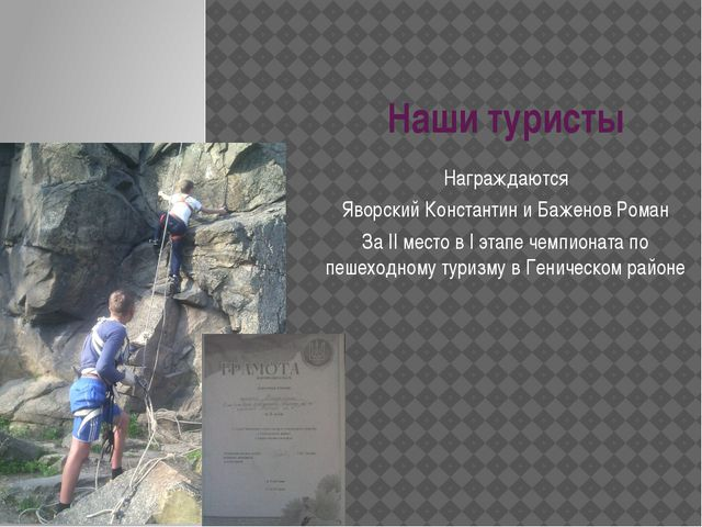 Наши туристы Награждаются Яворский Константин и Баженов Роман За II место в I...