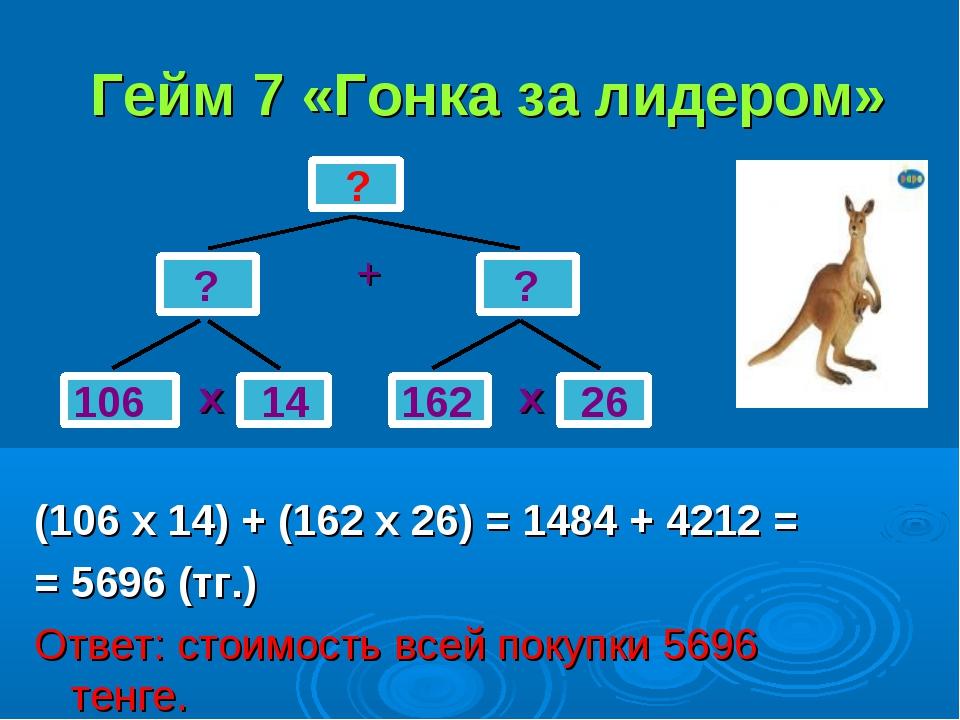 Гейм 7 «Гонка за лидером» + х х (106 х 14) + (162 х 26) = 1484 + 4212 = = 569...